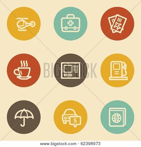 Travel web icon set 4, retro circle buttons