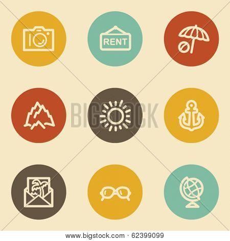 Travel web icon set 5, retro circle buttons