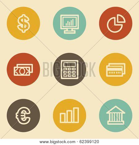 Finance web icon set 1, retro circle buttons