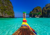 stock photo of koh phi-phi  - Traditional longtail boat in Maya bay on Koh Phi Phi Leh Island Krabi Southern of Thailand - JPG