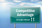 stock photo of competition  - Highway Signpost Image with Competitive Advantage wording - JPG