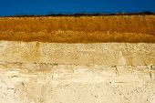 image of loam  - texture yellow red sand on a sandy beach