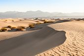 stock photo of mesquite  - Sand dunes of Mesquite Flat in Death Valley Desert  - JPG