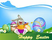 foto of duck egg blue  - Happy Rabbit and Easter Egg - JPG