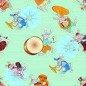 picture of bagpiper  - happy easter seamless pattern vector illustration - JPG