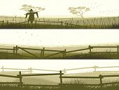 foto of scarecrow  - Set of horizontal vector banner farm fields with fence - JPG