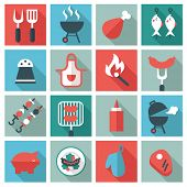 stock photo of grilled sausage  - barbecue and  grill icon set - JPG