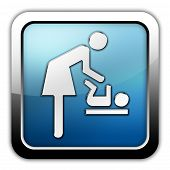 picture of diaper change  - Icon Button Pictogram with Baby Change symbol - JPG