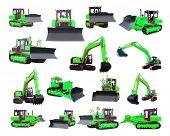 picture of dozer  - The image of bulldozers and excavators under the white background - JPG