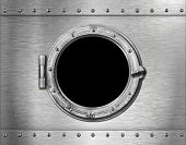 stock photo of ironclad  - ship or submarine window metal background - JPG