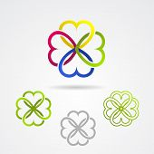 pic of red clover  - Clover leaf vector icon set for bio and organic products - JPG