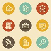 Real estate web icons , retro circle buttons