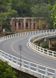 picture of twisty  - Asphalt twisty highway bridge - JPG