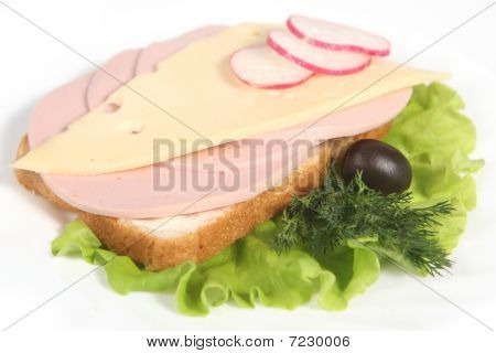 Ham Sandwich With Cheese, Olives, Radish And Greenery