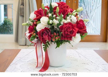 Roses Flowers Bouquet Inside Vase On Desk In House Decoration