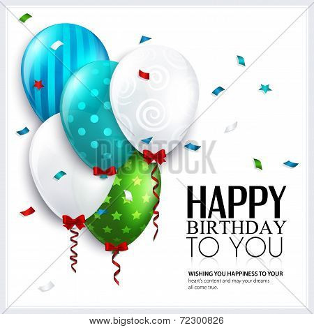 Vector birthday card with balloons and confetti.