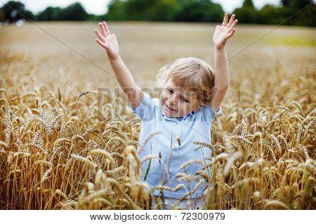 Happy Little Boy Having Fun In Wheat Field In Summer