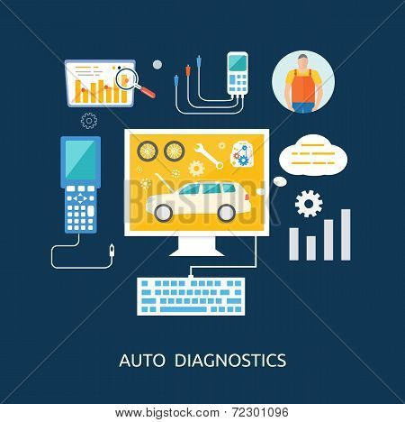 Auto Mechanic Service Flat Icons Of Maintenance Car Repair