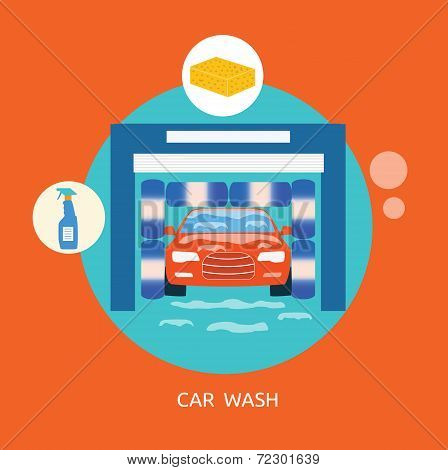 Business Concept Car Wash Best Clean Non Stop Auto Service