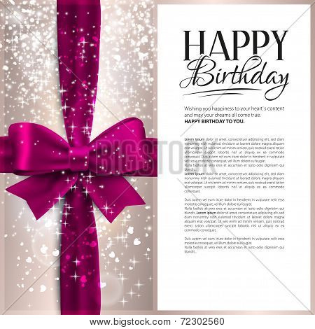 Vector birthday card with pink ribbon and birthday text.