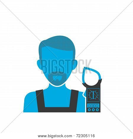 Maintenance electrician blue icon
