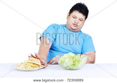Fat Man Refuse Junk Food