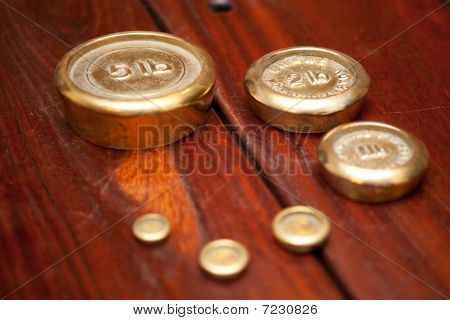 Wooden Table And Weights