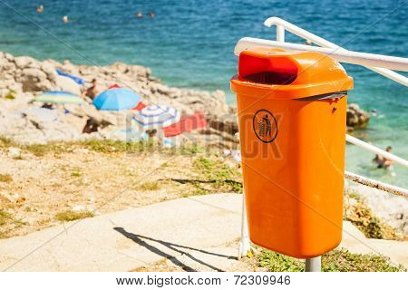 Trash bin near the beach