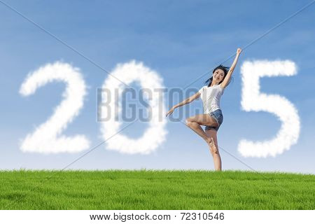 Person On Meadow Forming Number 2015