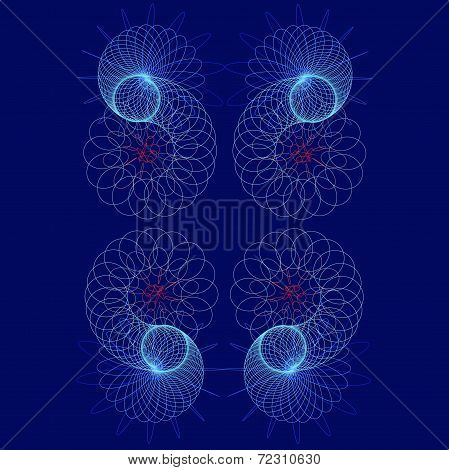 Colored Tracery Bright Geometrical  Figures On A Blue Background