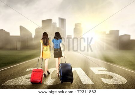 Two Women Walking To The Future