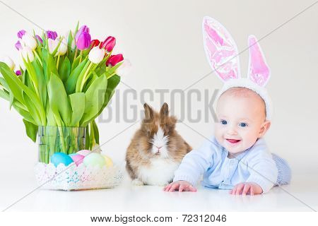 Adorable Funny Baby Boy With Bunny Ears Playing With A Real Rabbit Next To Tulip Flowers