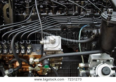 Diesel engine close-up