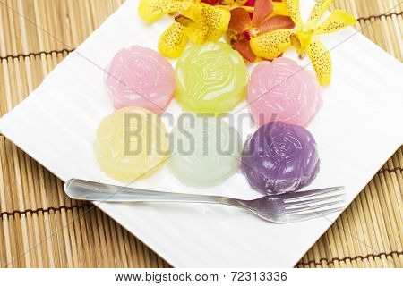 Khanom Chan or Thai sweetmeat is a kind of sweet Thai dessert