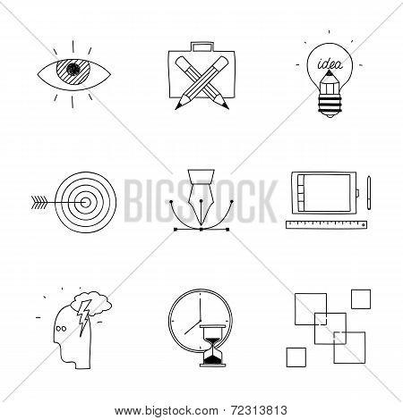 Hand drawn doodle sketch creative design process concept icons for web social media internet adverti