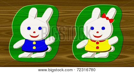 Rabbits Relief Painting On Generated Wood Texture Background
