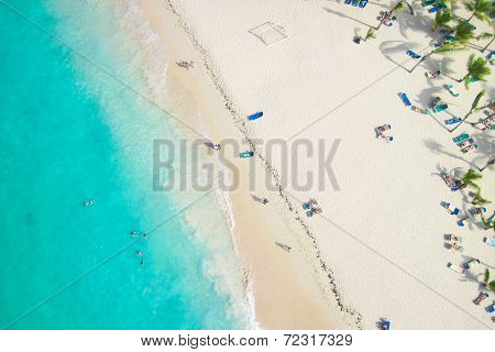 Beautiful View Of A Nice Tropical Beach From The Air