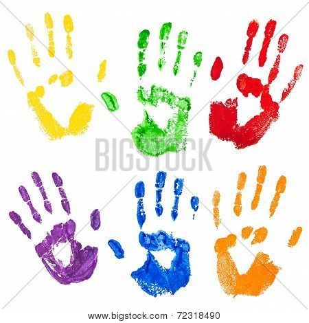 Vector isolated multicolored paint hand prints