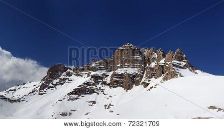 Panorama Of Snowy Rocks At Nice Sun Day