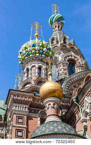Domes Of Church Of The Savior On Spilled Blood (cathedral Of The Resurrection Of Christ) In Saint Pe