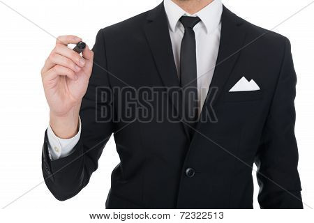 Businessman Writing On Transparent Screen