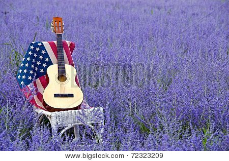 guitar and American flag on chair