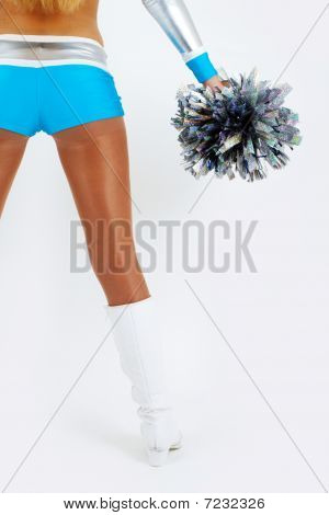 A cheerleader with pom-poms