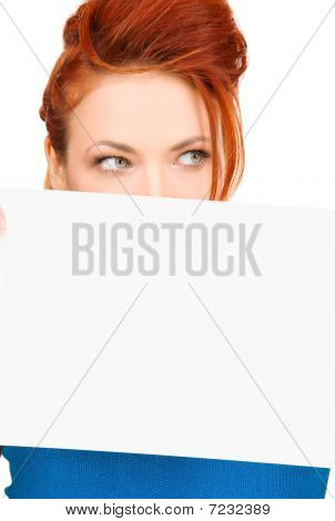 Redhead Woman With Blank Board