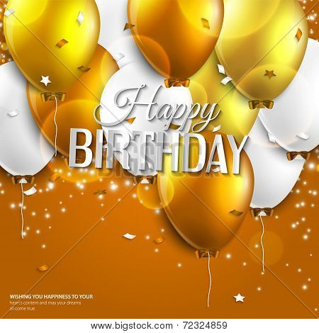 Birthday card with balloons and birthday text on orange background.