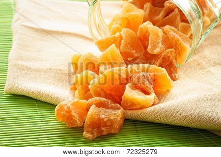 Closeup Candied Dried Ginger On Table