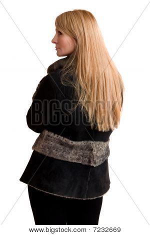 The Young Beautiful Woman In Grey Sheepskin Coat.