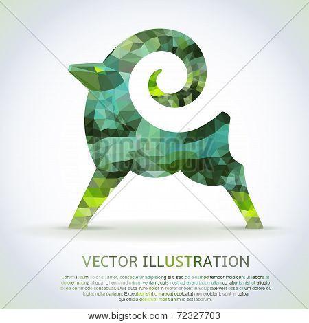 Geometric green shape of the Goat.