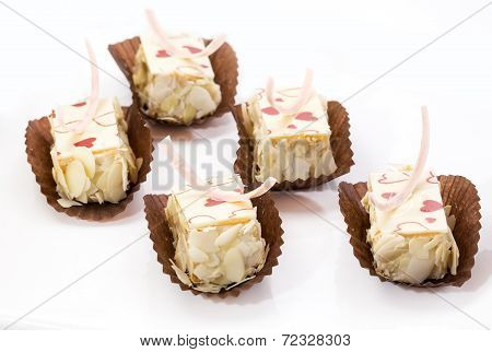cream cake on a white background