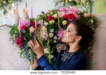 Florist At Work. Woman Making Spring Floral Decorations The Wedding Table , The Bride And Groom. Flo
